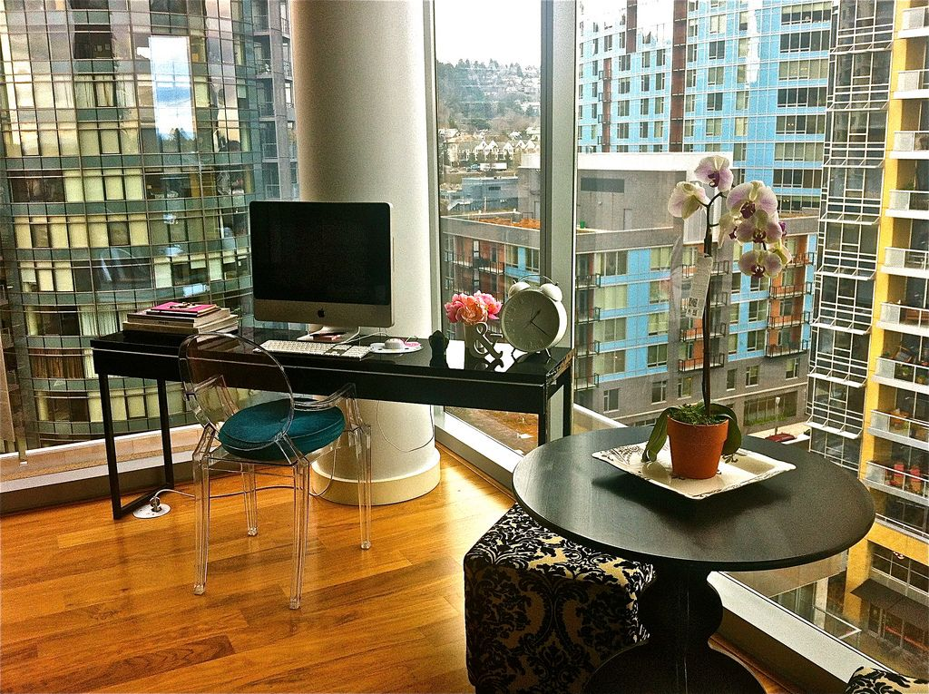 World Map Glass Desk Ikea. Tall Buildings Views Awesome Glass Wall Themed Workspace Design with  Minimalist Black Desk and Wooden Floor also Unique Chair for The Best Gorgeous minimaldesks Windows baby windows in this high rise condo To