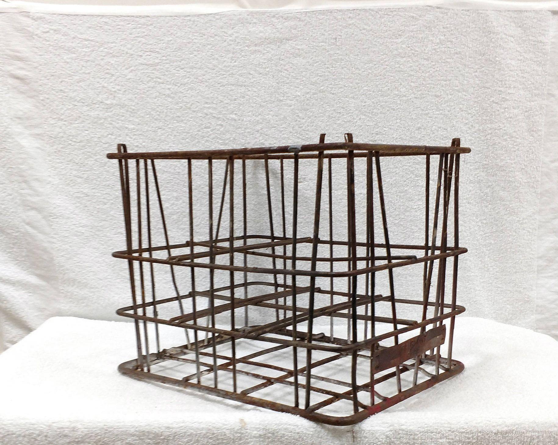 Antique Milk Crate, Wire Basket, Steel Crate, Industrial Metal Bin ...