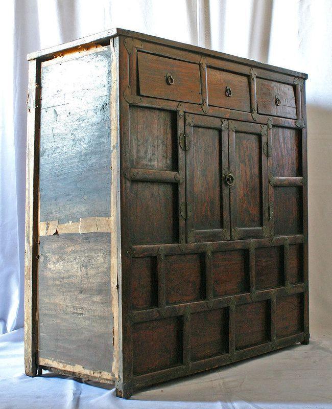 Antique korean kitchen chest korea traditional furniture for Traditional korean kitchen