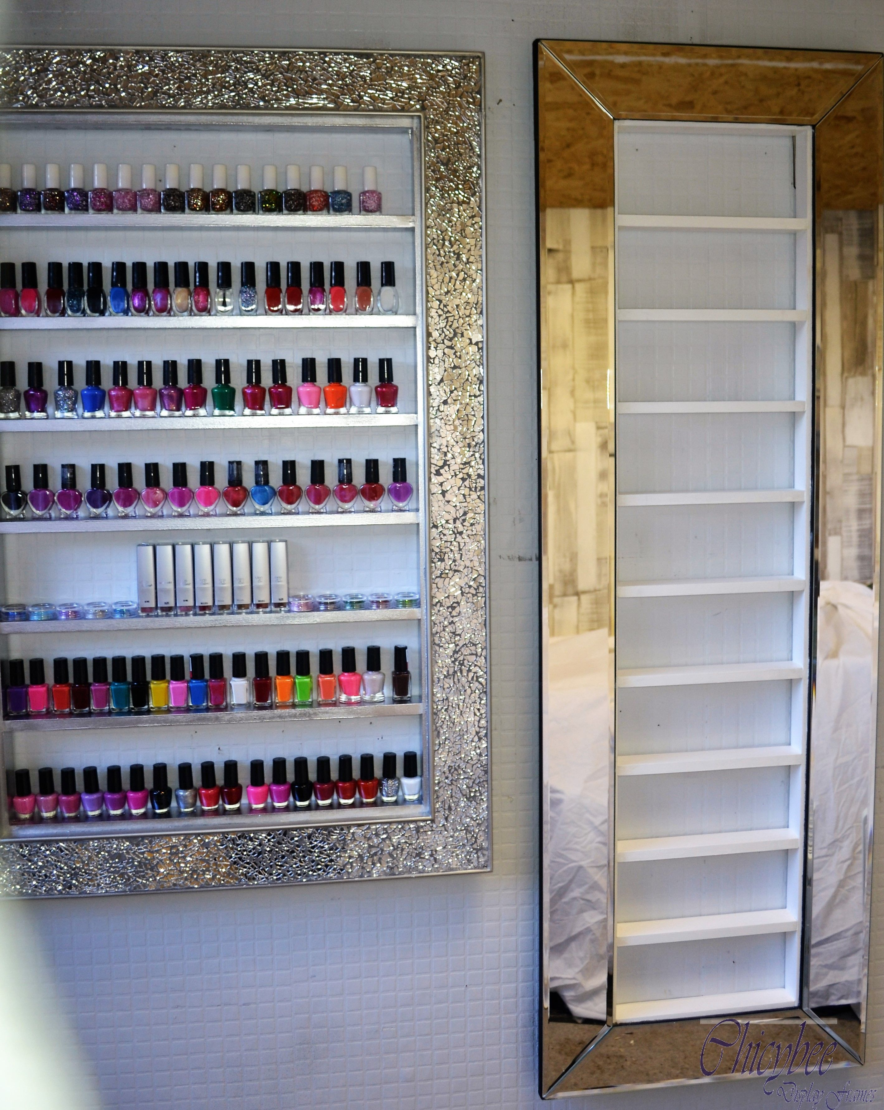 Mirror frame nail polish rack space saving style great for