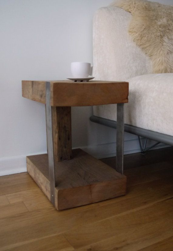 Reclaimed wood and Metal Side Table. Modern Rustic End Table ...
