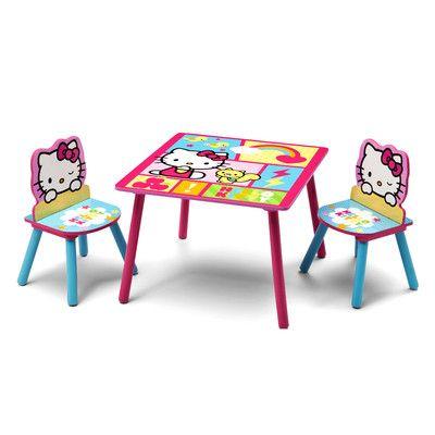 Delta Children Hello Kitty Kids' 3 Piece Table & Chair Set & Reviews | Wayfair