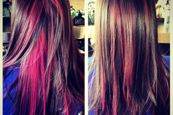 pink streaks in brown hair | Hair Ideas | Pinterest | Pink streaks ...