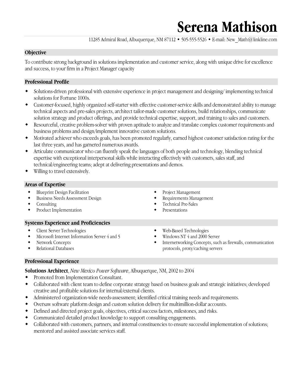 resume templates project manager | project management resume ...