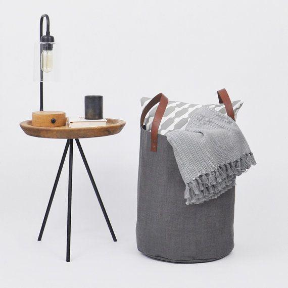 Large Laundry Hamper Basket Toy Storage Fabric Bin Nursery Gray