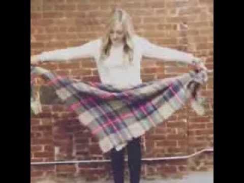 How To Tie Plaid Zara Blanket Scarf Youtube Fashion