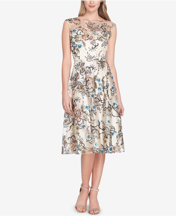 9a07db50ef248 Tahari ASL Embroidered-Floral Sequined Fit & Flare Dress | Products ...