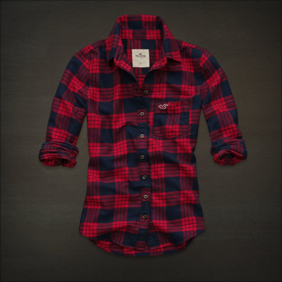 Hollister women red navy blue plaid button down shirt top Womens red plaid shirts blouses