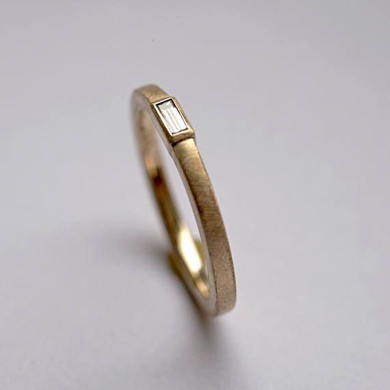 Baguette diamond ring, baguette ring, baguette gold ring, Engagement ...