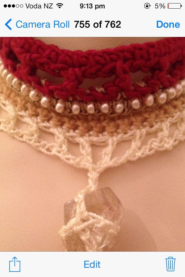 First necklace 2013 Pearls, sari silk & Rudilated Quartz