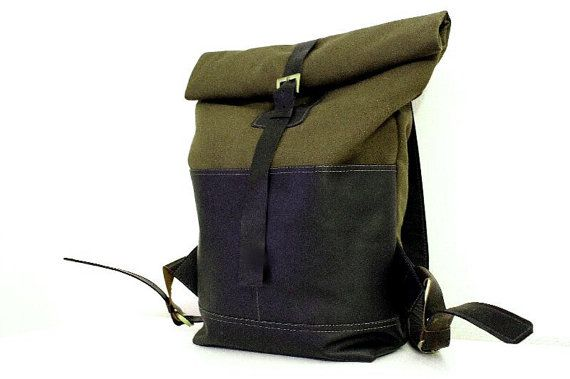 Leather backpack / rolltop by kasablanka on Etsy