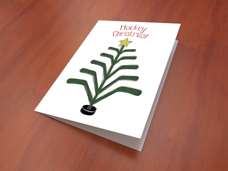 Hockey Christmas Card, Hockey Holidays, Greeting Card, 5x7\
