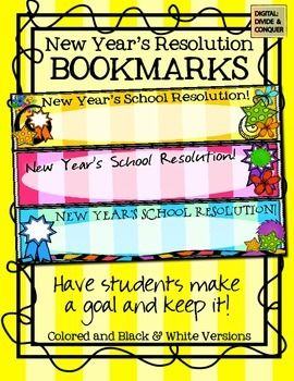 New Year S Resolution Bookmarks New Years Resolution Year