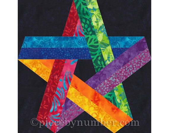 Pentagram Star Quilt Block Pattern, Paper Pieced Quilt