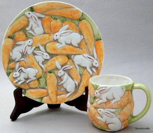 Takahashi Bunny Rabbit Carrot Plate Mug Set s Raised Emboss Easter Decor Japan | eBay