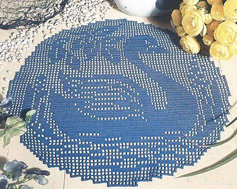 Blue swan crochet filet work with diagram