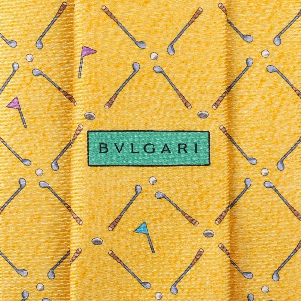 da51619159355 BVLGARI DAVIDE PIZZIGONI Yellow Golf Club Print 100% Silk 5 Fold Necktie Tie   Bvlgari