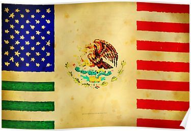 Mexican American Flag 017 Poster By Lbstudios Mexican American Flag American Flag Art Mexican American