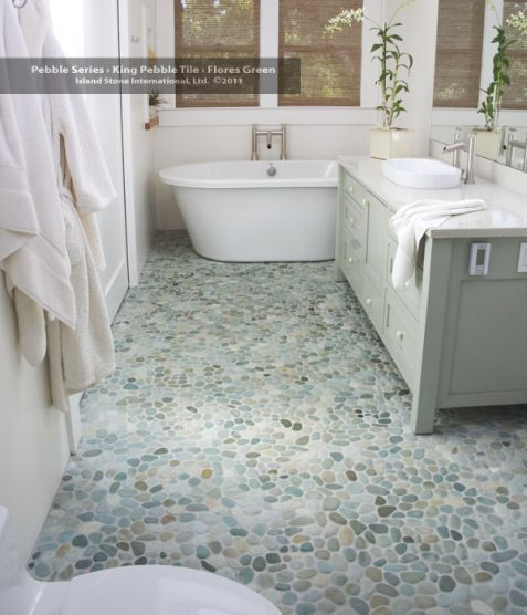 Bathroom floors of river rock some fabulous ideas home for Green flooring options