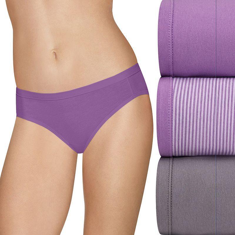 Hanes Ultimate 3-pack Stretch Bikini Panties 42KS, Women's, Size: 7, Med Purple