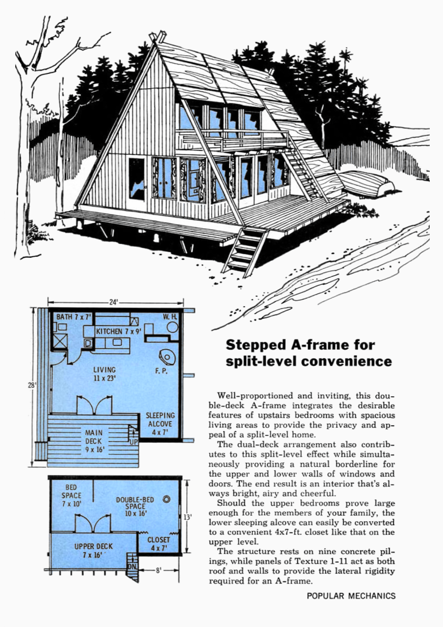 Split Level Convenience Stepped A Frame Design Popular Mechanics April 1968 A Frame Cabin Plans A Frame House A Frame House Plans