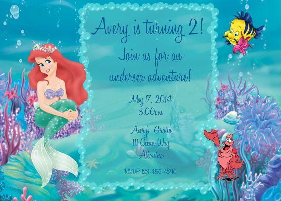 Para Imprimir Ariel La Sirenita Invitación De Cumpleaños Ccvf - Ariel birthday invitations printable