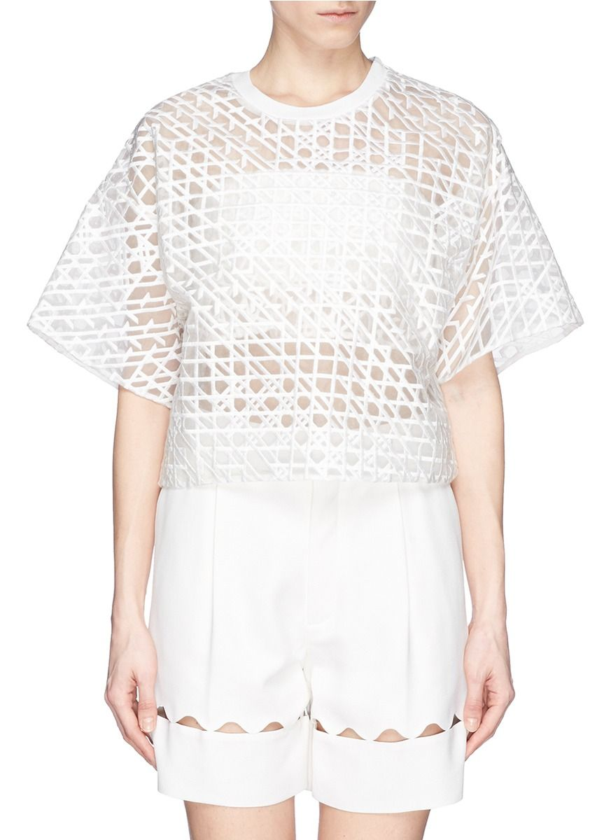 3.1 PHILLIP LIM - Sheer line embroidery top | White Blouses Tops | Womenswear | Lane Crawford