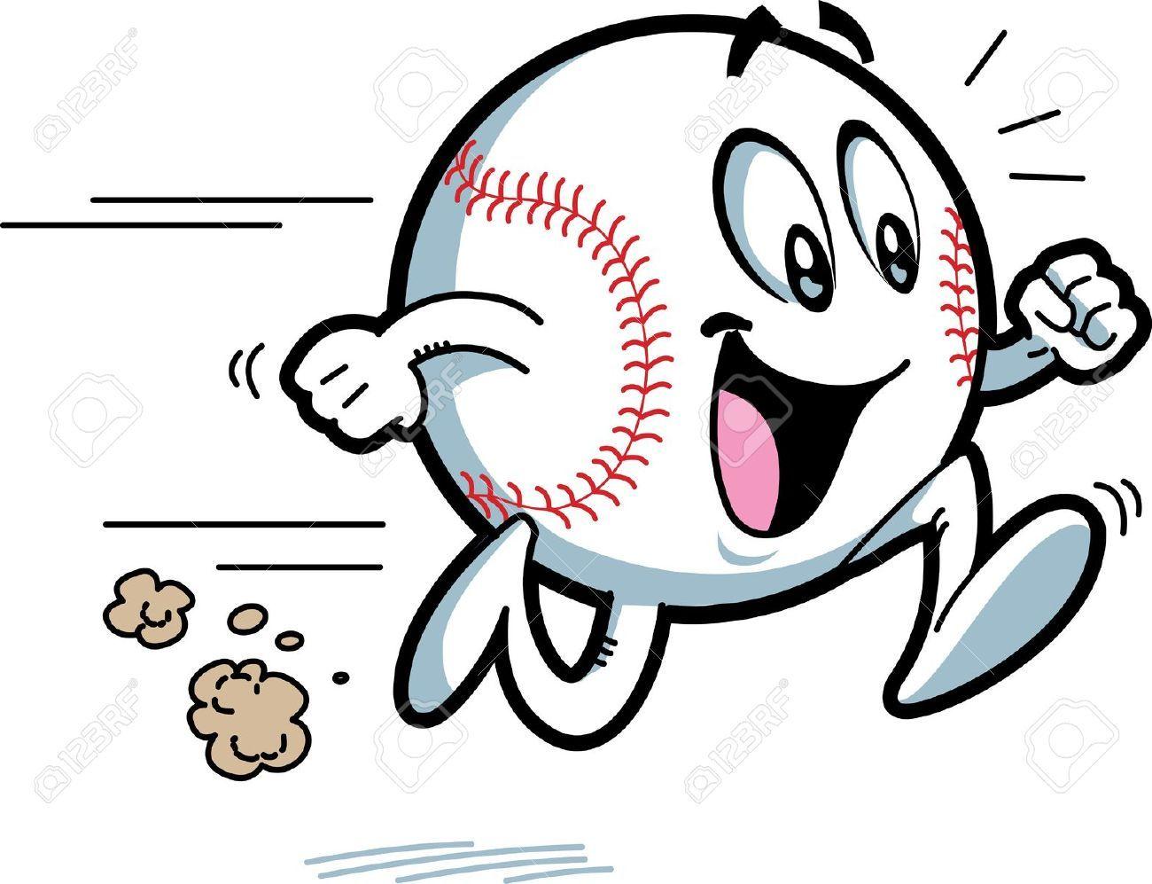 Animated Cartoon Happy Running Baseball With Big Smile