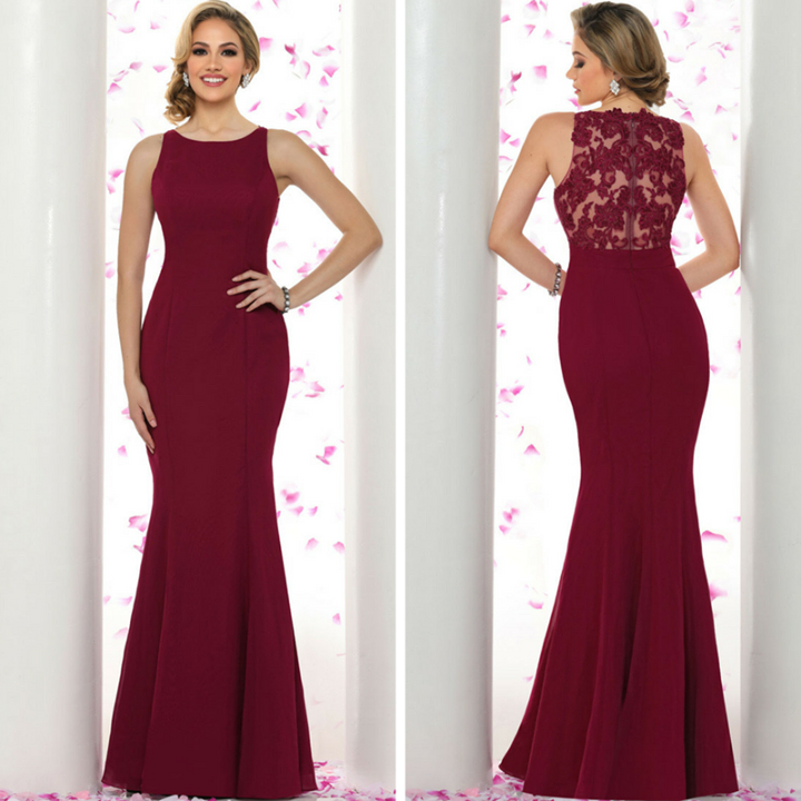 Bring your bridesmaids to try on this spectacular gown!  It features beautiful lace appliques in the back.  Find it at a store near you: http://bit.ly/2lrAXEK