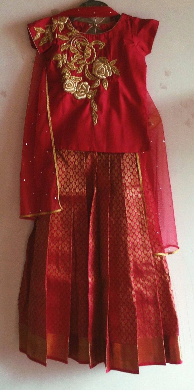 b57e9cca67d42 Pure kanchipuram silk pure gold zari pattu langa with gold zardosi hand  embroidery by Bubblinga on Etsy