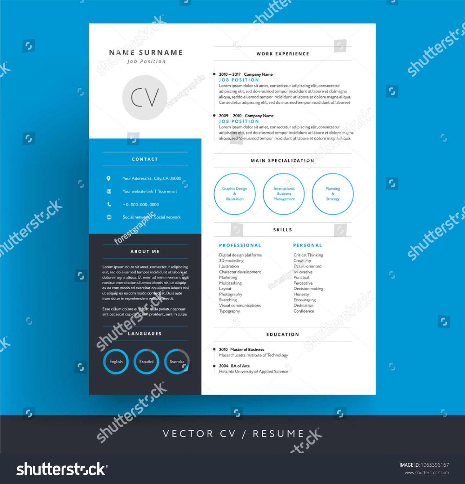 Professional Cv Resume Template Blue Background Color Minimalist