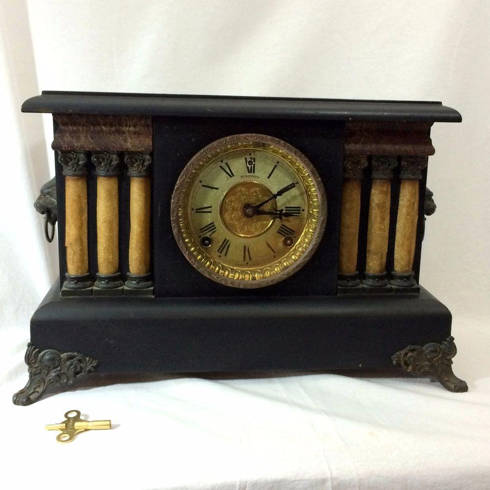 Antique Session Mantle Clock 6 Fluted Celluloid Columns Lions Head