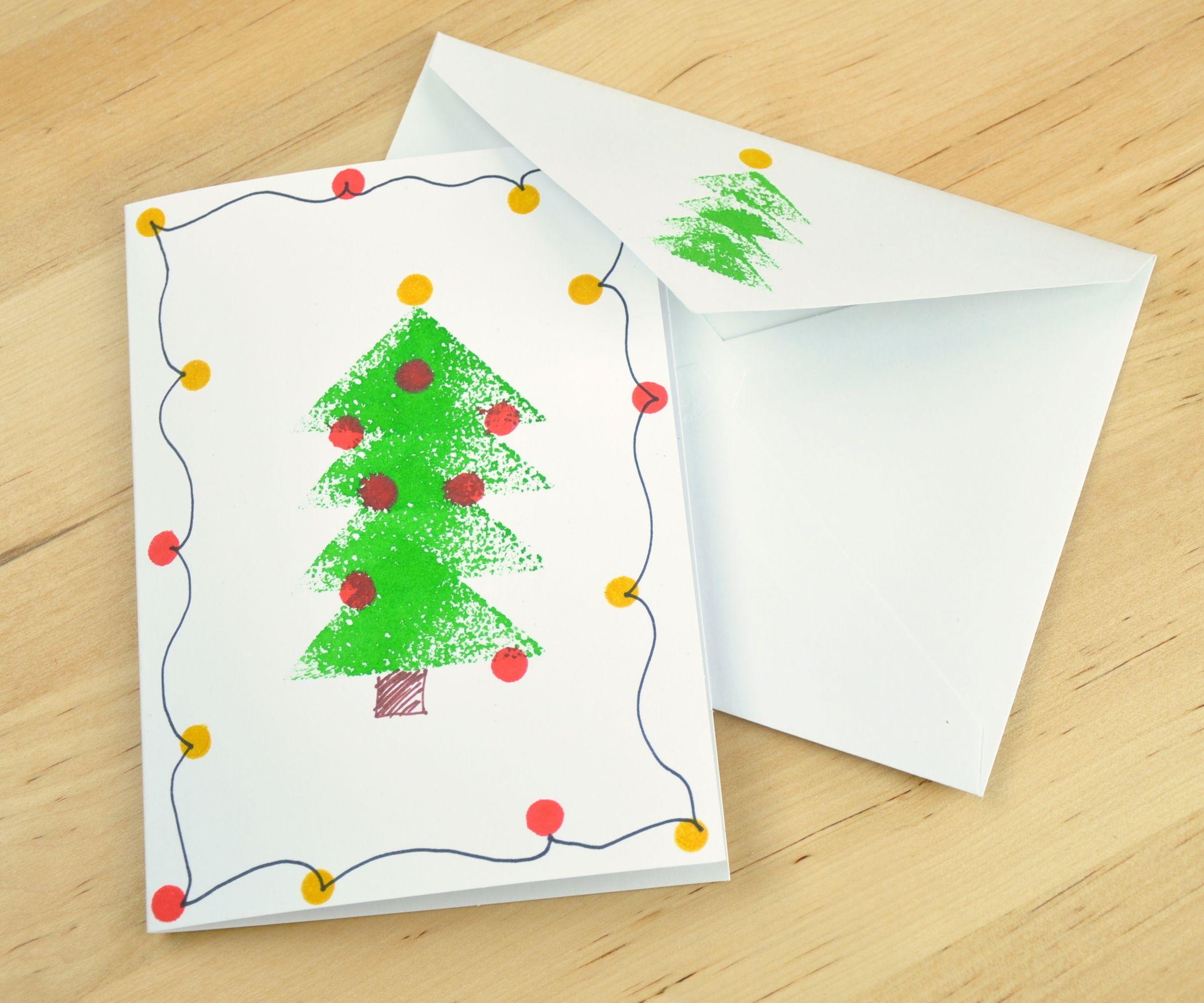 Sponge stamped christmas tree card christmas tree xmas crafts and