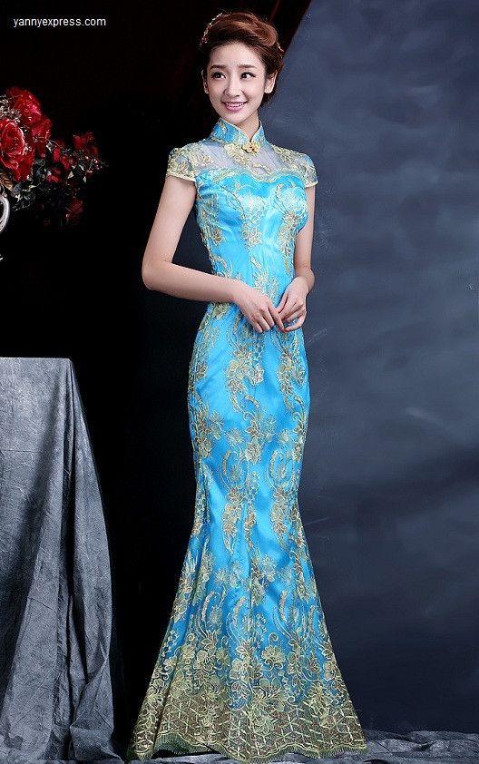 Chinese Wedding Dress Bridal Cheongsam Fishtail Gown Blue