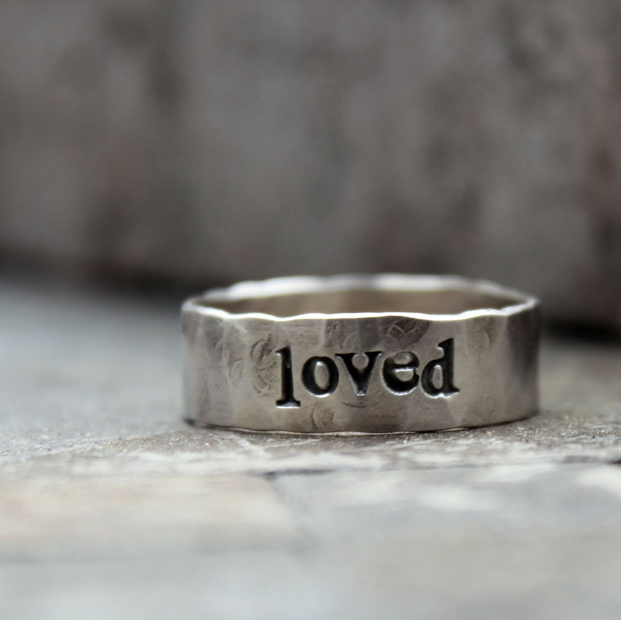 Daddy Ring Personalized Mens Hammered Sterling Band