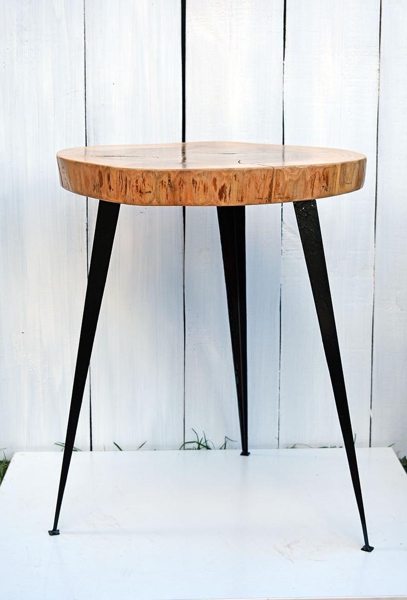 rustic wood slice coffee table