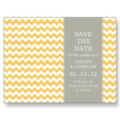 yellow & gray save the date post cards #wedding