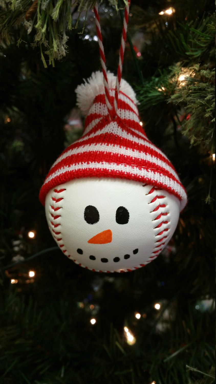 Baseball Snowman Christmas Holiday Handmade Ornament Affordable Christmas Decorations Christmas Ornaments Christmas Ornament Crafts