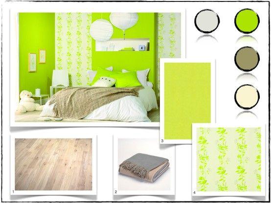 Une chambre moderne et pimpante avec le vert pomme | Deco vert pomme ...
