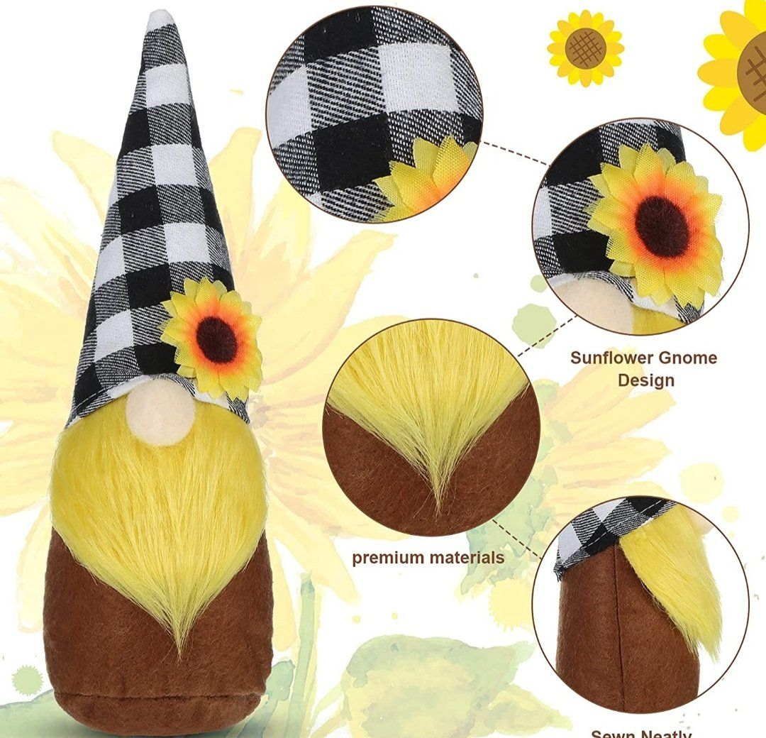 2 Pieces Sunflower Plush Gnome, Rustic Faceless Gnome Dwarf Doll Decorations with Black White Green Plaid, Beard and Sunflowers for Spring Summer Fall Ornaments, Home Farmhouse Tabletop Tiered Tray
