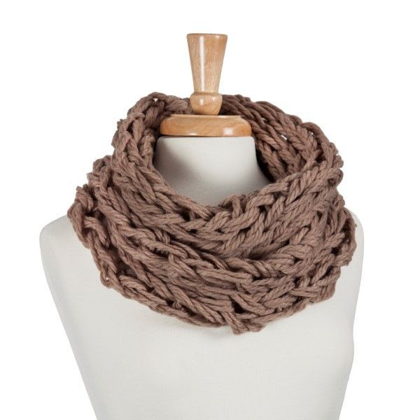 Taupe Crochet Tube Scarf