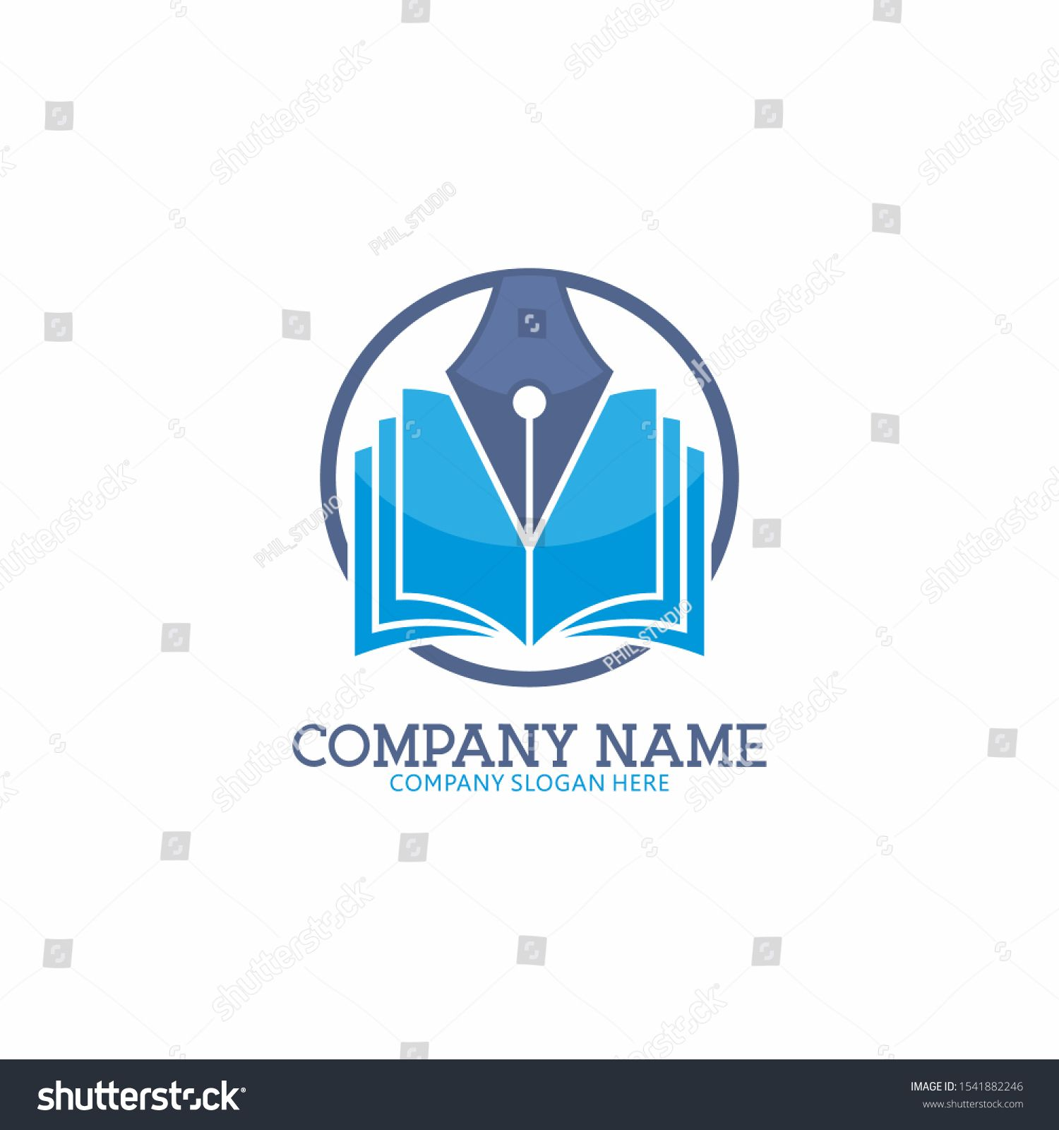 Education Logo Design With Open Book And Writing Pen Knowledge
