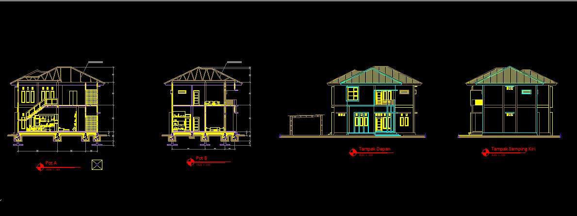 Download Gambar Rumah Tinggal Lt 2 Format Dwg Autocad Teknik Sipil Arsitek Autocad