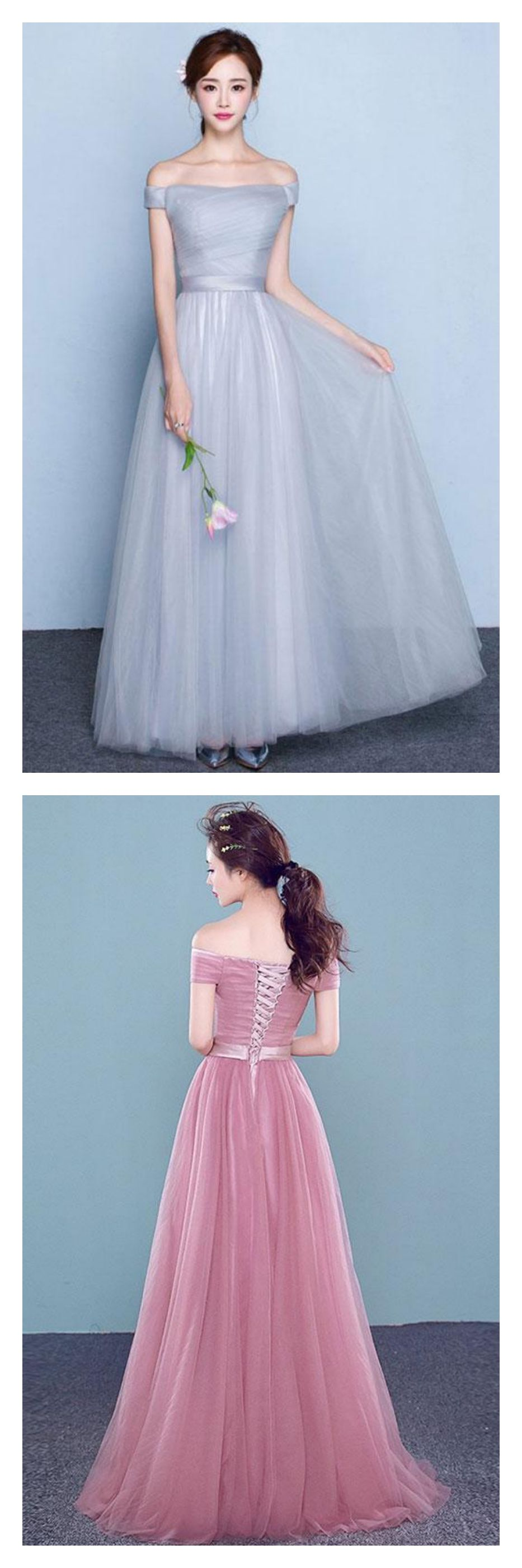 Simple Off Shoulder Long Tulle Prom Dresses,HS245 from SIMI Bridal ...