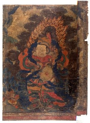 Painting. The Lokapala Dhritarashtra. Painted on textile.  JC French - loot ??