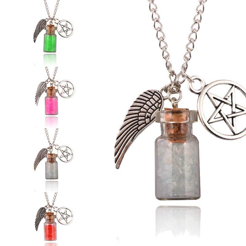 Heiße Frauen Retro Handgemachte Engel Flügel Pentagramm Glas Wishing ...