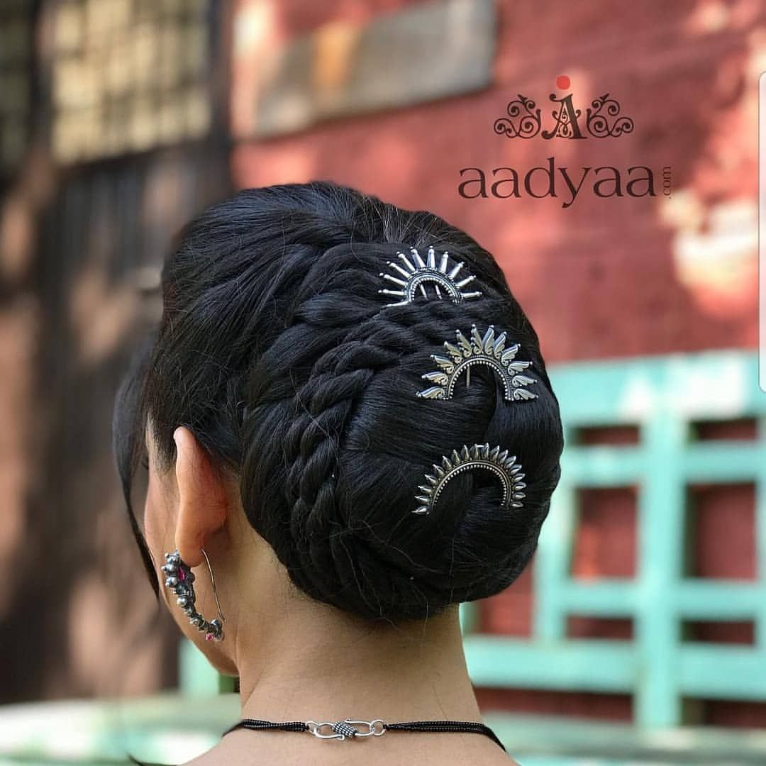 All The Latest Trendy Juda Hairstyles for Short and Long Hairs | Long hair styles, Curly bun ...