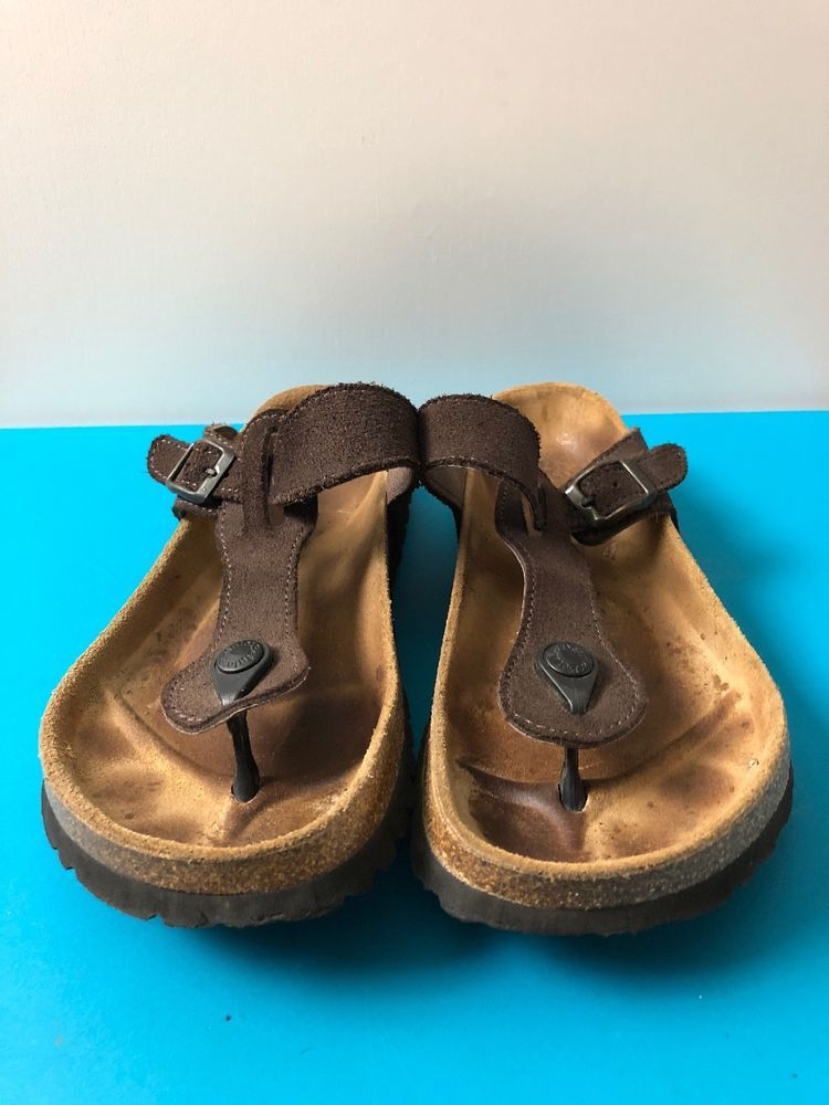 e6330e3d8 Betula Birkenstock Thong Sandals Brown Suede Leather Womens US 7.5-8 EU 38