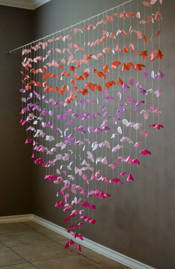 Anthropologie Inspired Paper Flower Garland Coral Lilac And Hot