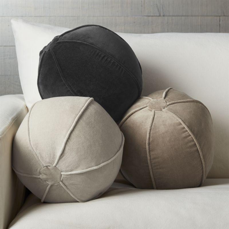 Brenner Grey 12 Quot Sphere Velvet Pillow Pillows Throw